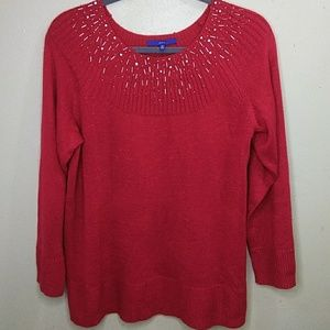 Red Pullover Sweater with Metallic Accents 2X NWT